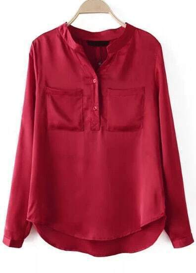 Red Long Sleeve Pockets Loose Blouse