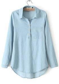 Blue Lapel Long Sleeve Pockets Denim Blouse