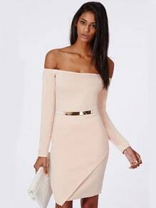 Apricot Off The Shoulder Long Sleeve Dress