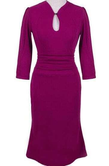Purple Half Sleeve Pleated Slim Dress