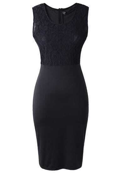 Black Sleeveless Lace Bodycon Pencil Dress