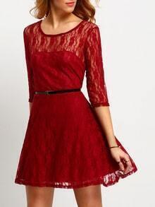 Wine Red Round Neck Belt Lace Dress