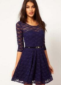 Navy Round Neck Belt Lace Dress