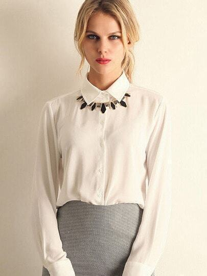 White Lapel Long Sleeve Chiffon Blouse pictures