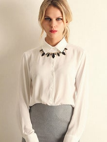 White Lapel Long Sleeve Chiffon Blouse