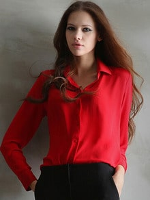 Red Lapel Long Sleeve Chiffon Blouse