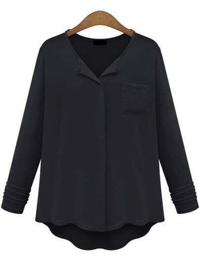 Black Contrast Chiffon Dipped Hem Loose Blouse