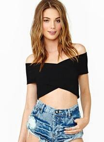 Black Off the Shoulder Backless Crop T-Shirt