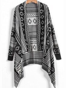 Dark Grey Long Sleeve Vintage Striped Cardigan