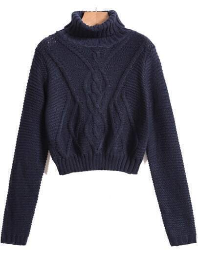 Navy High Neck Cable Knit Crop Sweater