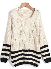 Apricot Striped Round Neck Cable Knit Sweater