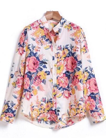 Pink Long Sleeve Floral Chiffon Blouse