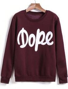 Wine Red Long Sleeve Dope Print Sweatshirt