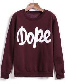 Wine Red Long Sleeve Dope Print Sweatshirt