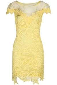 Yellow Short Sleeve Hollow Lace Dress