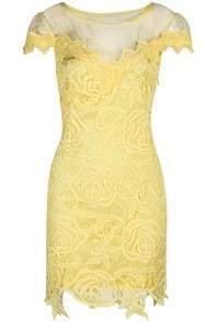 Yellow Short Sleeve Hollow Lace Dress -SheIn(Sheinside)