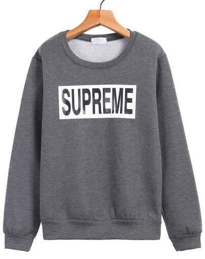 Grey Long Sleeve SUPREME Print Sweatshirt