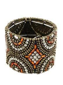 Orange Crystal Bead Bracelet