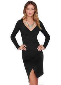 Black V Neck Asymmetrical Split Dress