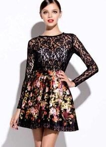 Black Round Neck Long Sleeve Lace Top With Floral Print Skirt