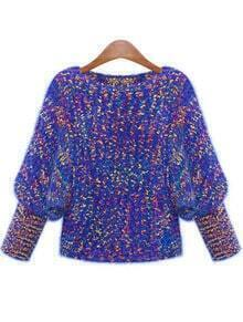 Blue Round Neck Batwing Knit Sweater