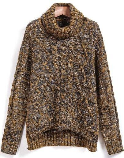 Khaki Cable Knit High Neck Dipped Hem Sweater