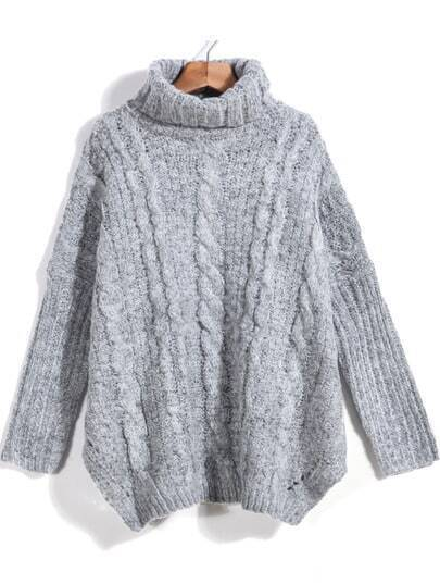 Grey High Neck Loose Cable Knit Sweater