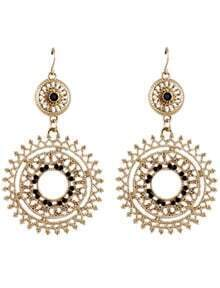 Fashionable Black Rhinestone Hollow Out Antique Earring