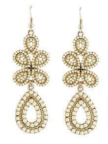 Beige Gemstone Gold Dangle Earrings