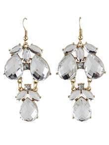 White Gemstone Drop Dangle Earrings