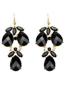 Black Gemstone Drop Dangle Earrings
