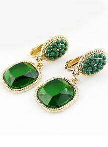 Green Bead Gemstone Gold Earrings