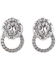 Silver Lion Chain Earrings