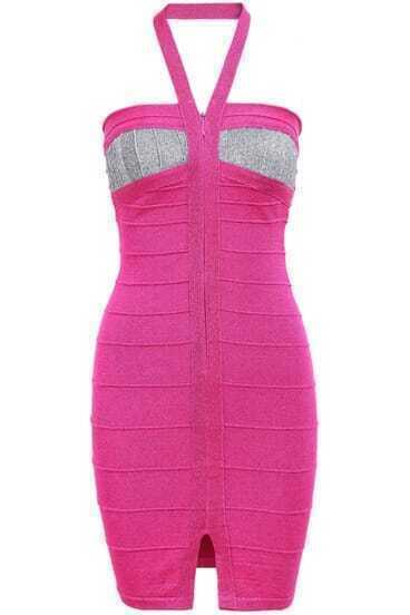 Purple Sleeveless Halter Bodycon Dress
