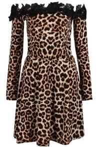 Brown Off The Shoulder Leopard Print Pleated Dress