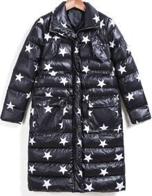 Black Lapel Long Sleeve Zipper Star Print Coat