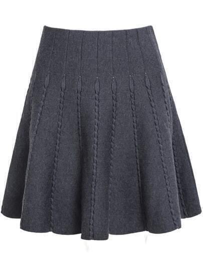 Grey High Waist Pleated Skirt