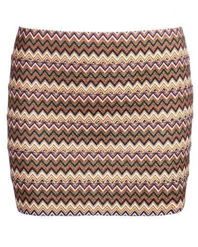 Khaki Striped Bodycon Skirt