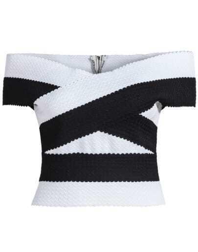 Black White Off The Shoulder Slim Blouse