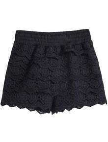 Black Floral Crochet Lace Shorts