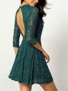 Dark Green Long Sleeve Lace Dress