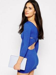 Blue Long Sleeve Cross Back Dress