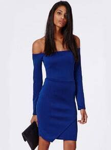 Blue Long Sleeve Off The Shoulder Dress