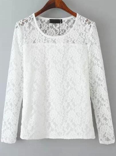 White Round Neck Long Sleeve Lace T-Shirt