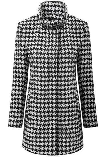 Black Stand Collar Long Sleeve Woolen Plaid Outerwear