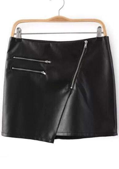 Black Zip Split PU Skirt