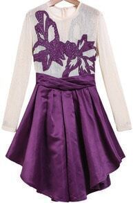 Purple Long Sleeve Embroidery Zipper Pleated Dress