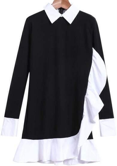 Black Lapel Long Sleeve Ruffle Pleated Dress