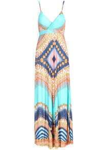 Green Spaghetti Strap Sleeveless Geometric Print Maxi Dress