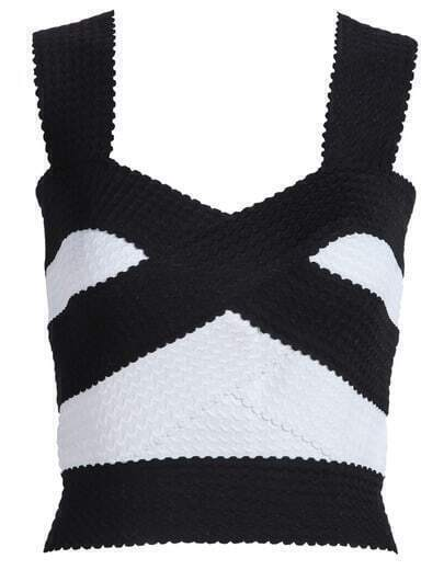 Black White Spaghetti Strap Bandage Crop Tank Top